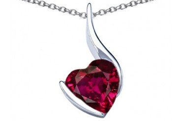 Star K 10mm Heart Shape Created Ruby Heart Pendant