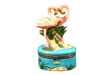 Tropical Pink Flamingo Flamingoes Trinket Box phb