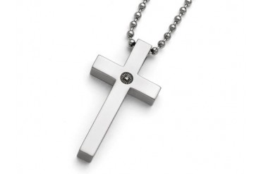 Chisel Titanium Polished 12pt. Diamond Cross Necklace