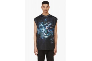 Juun.j Ssense Exclusive Black And Green Cosmic Cat Muscle Shirt
