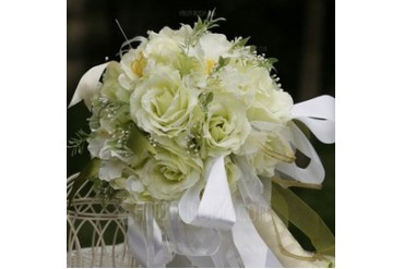 Shiny Round Satin Bridal Bouquets (124032109)