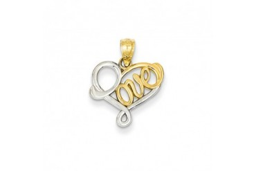 Two-Tone Love Script Heart Pendant in 14K Yellow Gold And Rhodium