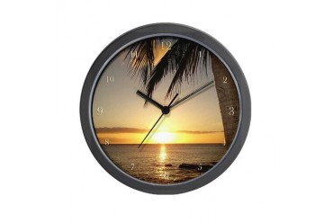 Waikiki Hawaii Sunset on the Beach Wall Clock