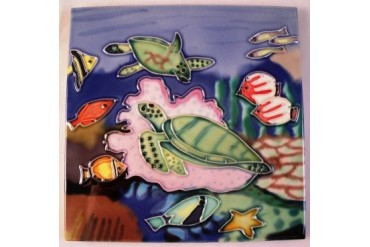 Tropical Reef Green Sea Turtle 6 X 6 Inch Ceramic Decorative Tile Art