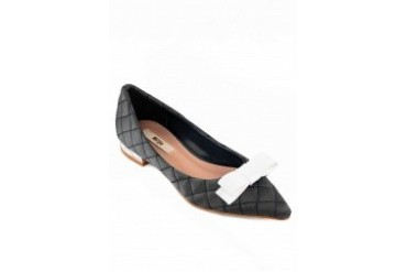 Contrast Bow Quilted Flats