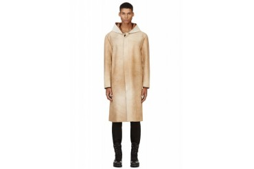 Maison Martin Margiela Tan Calf hair And Suede Hooded Coat