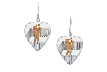 Isolated in White Picket Fence White Earring Heart Charm by CafePress