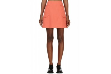 Carven Tangerine Double Crepe A line Skirt