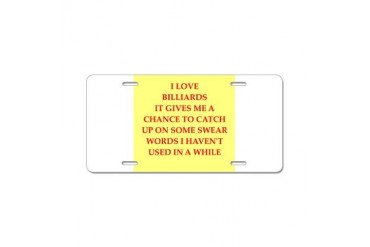 billiards Funny Aluminum License Plate by CafePress