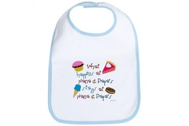 What happens at Nana Papa's stays at Nana Pap Baby girl Bib by CafePress