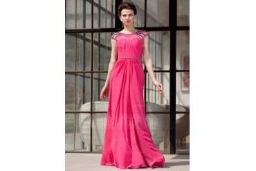 A-Line/Princess Scoop Neck Floor-Length Chiffon Tulle Evening Dress With Ruffle Beading (017022865)