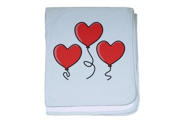 Three Red Heart Balloons. Romance baby blanket by CafePress
