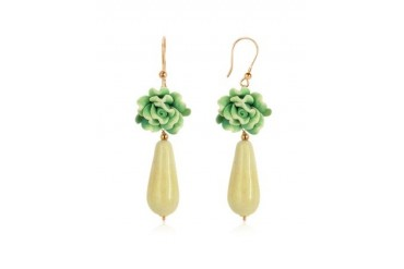 Green Rose Murano Glass Drop Earrings