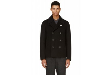 Calvin Klein Collection Black Double breasted Wool Pea Coat