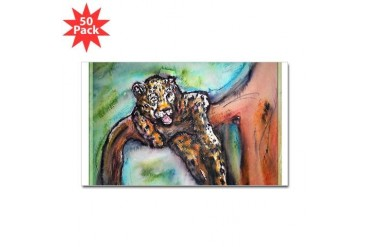 Leopard Wildlife art Art Sticker Rectangle 50 pk by CafePress