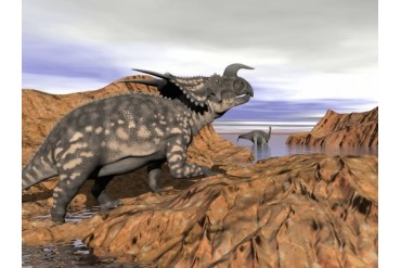 Einiosaurus dinosaur on a rock observing an Argentinosaurus.