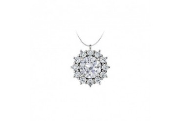 Round CZ Halo Pendant in 925 Sterling Silver 1.25.ct.tgw