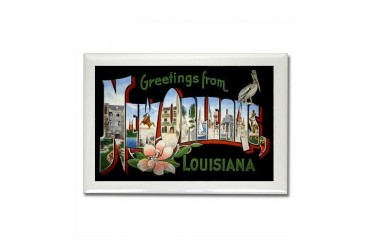 New Orleans Louisiana Greetings Vintage Rectangle Magnet by CafePress