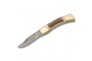 Fox-N-Hound Damascus Folding Hunter Lockback with Genuine Stag Handle