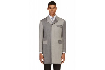 Thom Browne Grey Herringbone Wool Coat