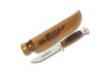 Queen Canoe Knife #89 with Amber Carved Stag Bone Handle