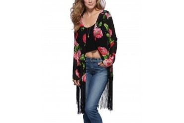 Cotton Candy Rose Kimono Black, S