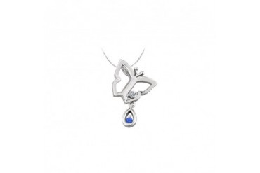 y Pendant Necklace with Diamond and Sapphire in 14kt White Gold 0.05 CT TGW