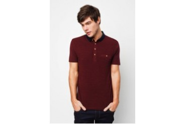 RIVER ISLAND Dark Red Contrast Collar Polo Shirt