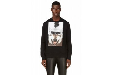 Neil Barrett Black Mohawk Wolf Collage Print Sweatshirt