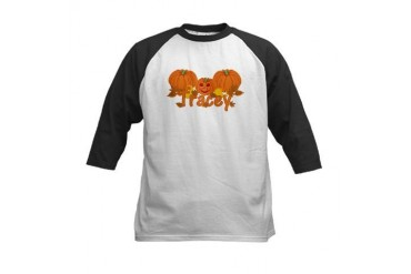 Halloween Pumpkin Tracey Baby Kids Baseball Jersey by CafePress
