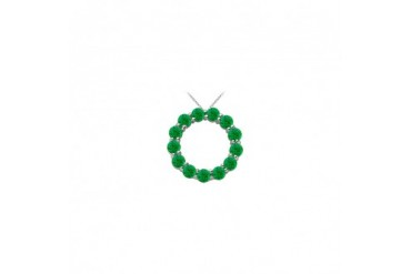 14K White Gold May Birthstone of Created Emerald Circle Necklace with 2 CT