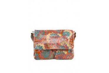 G. Davin Peacock Feather Print Sling Bag