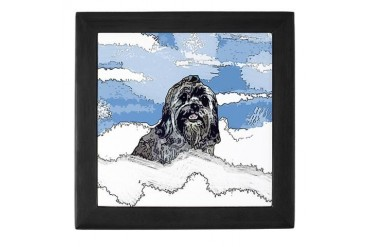 Lhasa Apso Christmas Winter Blitz Pets Keepsake Box by CafePress