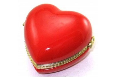Red Heart Valentine Love Lover Hinged Trinket Box phb