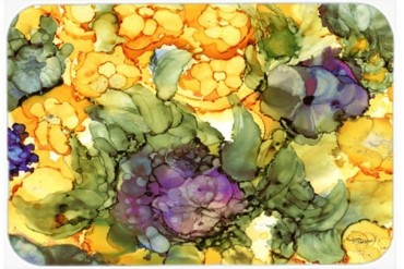 Abstract Flowers Purple and Yellow Mouse Pad, Hot Pad or Trivet