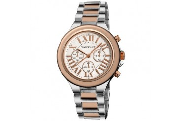 Women s Vernier Silver Rose Tone Faux Chrono Watch