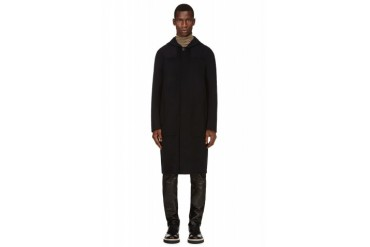 Acne Studios Navy Hooded Wool Elony Coat