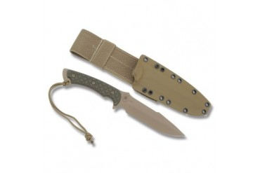 Spartan Blades Horkos with Green Micarta Handle and Desert Tan Kydex Sheath
