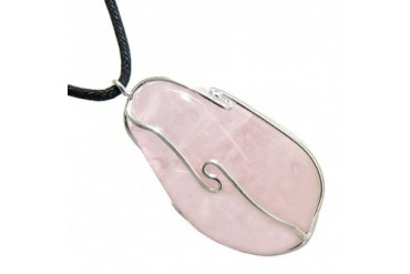Large Tumbled Healing Rose Quartz Caged Crystal Charm Amulet Necklace