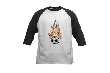 soccer ball with flame Kids Baseball Jersey