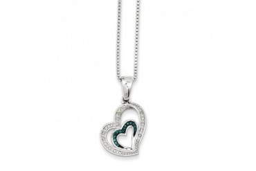 Blue amp White Diamond Asymmetrical Heart Necklace in Sterling Silver