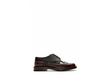 Alexander Mcqueen Burgundy And Black Piped Austerity Brogues