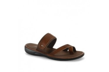 Deep Stretch Leather and Canvas Sandal