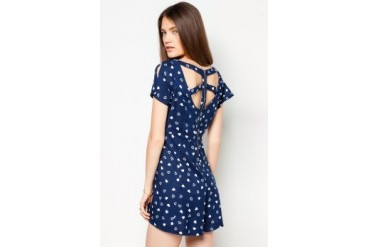 River Island Heart Print Cut Out Playsuit