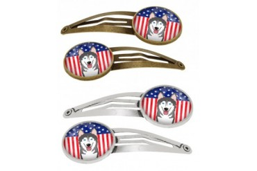 American Flag and Alaskan Malamute Set of 4 Barrettes Hair Clips