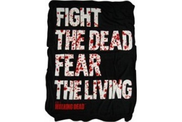 Walking Dead Fight the Dead Fear the Living Blood Drops Fleece Throw Blanket
