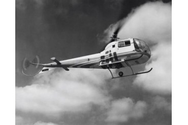 Low angle view of a helicopter in flight in the sky, Bell Helicopter Poster
