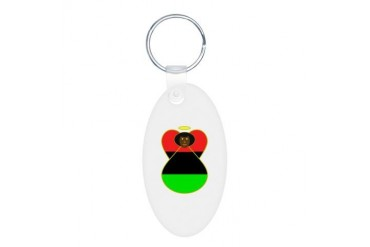 African American Angel Flag Flag Aluminum Oval Keychain by CafePress