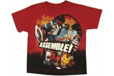 Marvel Comics Avengers Movie Assemble Grid Juvenile T-Shirt