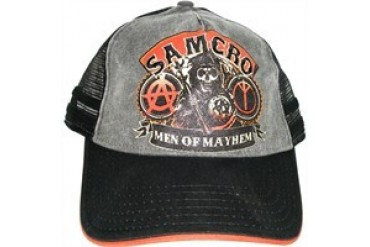 Sons of Anarchy SAMCRO Men of Mayhem Black Weathered Printed Embroidered Snap Closure Hat